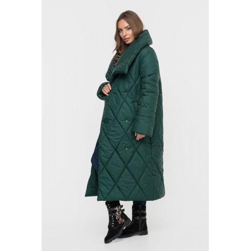 Пальто одеяло зеленое стеганое