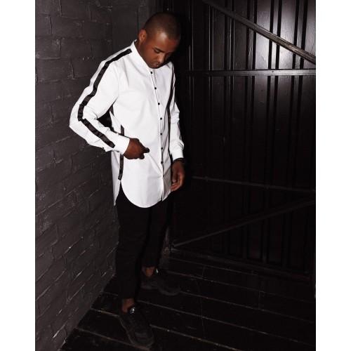 Рубашка белая с лампасами без воротника