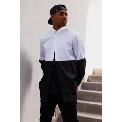 Рубашка черно белая удлиненная
