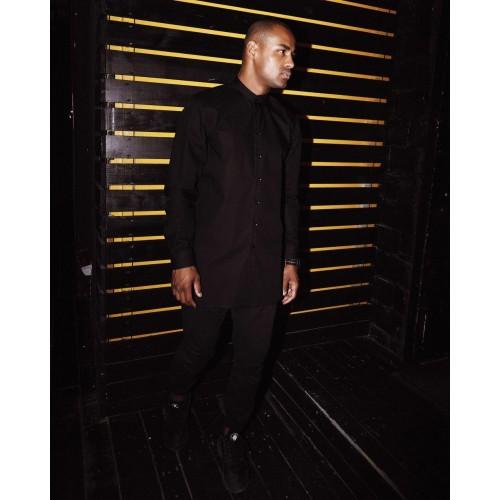 Рубашка удлиненная мужская чёрная