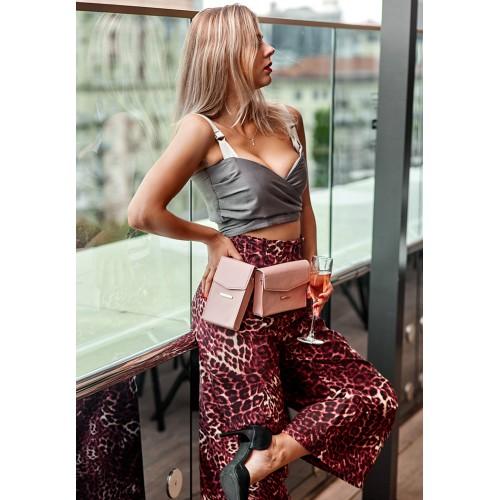 Набор кожаных сумок поясная/кроссбоди розовый