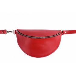Кожаная сумка бананка красная