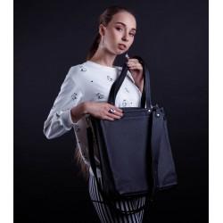Чёрная кожаная женская сумка