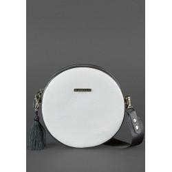 Круглая сумочка черно-белая