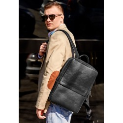 Кожаный мужской рюкзак чёрный