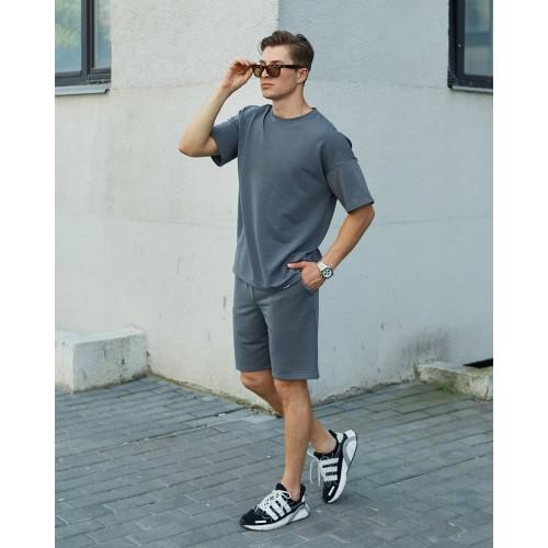Комплект футболка шорты серый