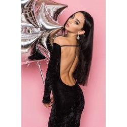 Чёрное бархатное платье в пол