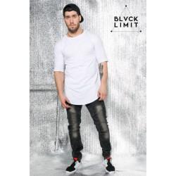 Удлиненная мужская футболка белая BLVCK LIMIT