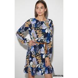 Платье в цветок с оборкой снизу