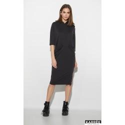 Платье худи черное