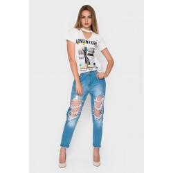 Рваные джинсы + колготки в крупную сетку