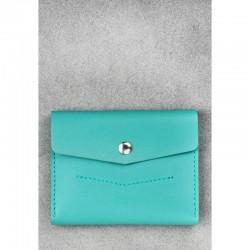 Голубой кошелёк из натуральной кожи