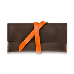 Кожаный холдер для билетов 1.0 Орех-апельсин