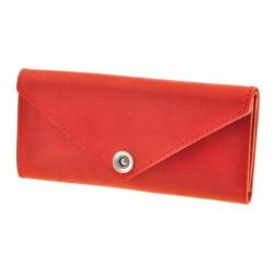 Красный кожаный женский длинный кошелёк