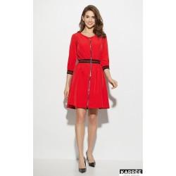 Платье с завышенной талией красное