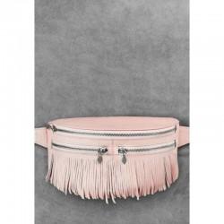 Сумка на пояс с бахромой розовая
