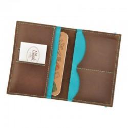 Обложка для паспорта 2.0 Орех-тиффани (кожа) + блокнотик