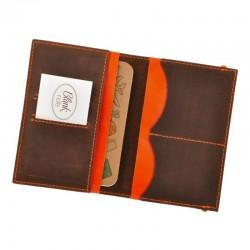 Обложка для паспорта 2.0 Орех-апельсин (кожа) + блокнотик