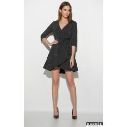 Платье мини с запахом чёрное