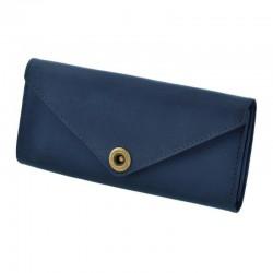 Синий длинный кожаный кошелек