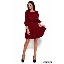 Платье с рукавом фонарик бордо