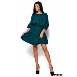 Платье с рукавом фонариком зеленое
