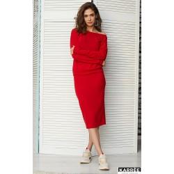 Костюм юбка миди и свитшот красный