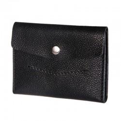 Чёрный раскладной кошелёк из натуральной кожи