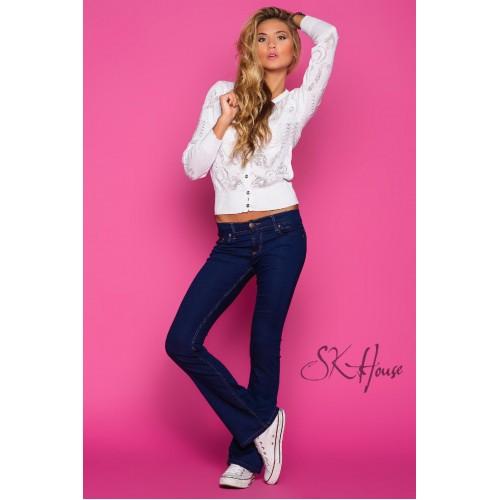 Тёмно-синие женские клешеные джинсы