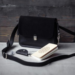 Кожаная сумка Амели Графит Велюр