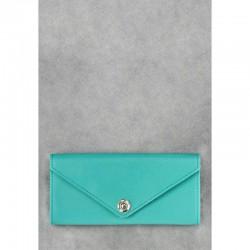 Голубое портмоне из натуральной кожи