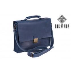 Сумка-портфель синяя из натуральной кожи